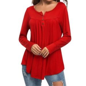 Leo Rosi Jane Red Long Sleeve Top Size Large